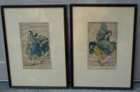 Pair of drypoint etchings of dancers by Elyse Lord