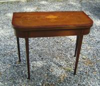 Mahogany Hepplewhite style inlaid card table, c1890