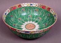 Chinese Export Cabbage Leaf Pattern porcelain punch bowl