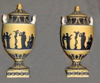 Paired WEDGWOOD  Primrose color urns c1905