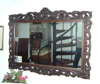 Oak frame mirror  scroll carved c1890