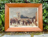English oil on canvas 19th Century Snow ball fight
