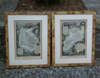 French pair engraved maps dated 1856
