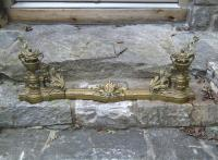 French brass fireplace fender and chenets