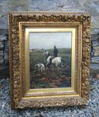 A W Kowalski oil on canvas man on horse back with dogs c1880