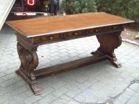 Spanish style library table with 2 drawers