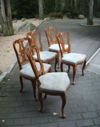 Set of 5 Italian fruitwood side chairs c1880