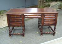 Jacobean style desk, leather top, turned legs c1900