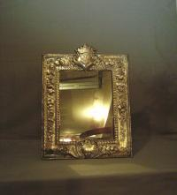 19thc silver plated continental dresser mirror with crown crest