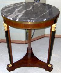 French Empire mahogany marble top gueridon center table w ormolu