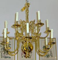 18th C. Dutch style baroque brass chandelier c1910