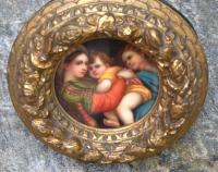 Enamel roundel grand tour plaque in gilt frame c1880