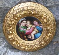 Enamel roundel grand tour plaque in gilt frame Florence  c1880