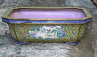 Chinese  Qing Dynasty enamelled copper planter c1750