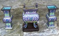 Chinese cloisonne 3 piece garniture set 18th c