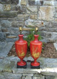 Pair red toleware urn form lamps c1920 to 1950