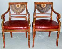 English Regency style painted gilt decorated scroll armchairs c1910