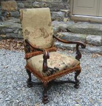 19th C Continental fruitwood arm chair with tapestry c1880