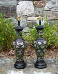 Pair of bronze and enamel lamps c1920