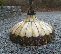 Arts and Crafts leaded glass dome lighting fixture c1900