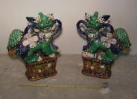 Pair Chinese ceramic palace foo dogs c1950