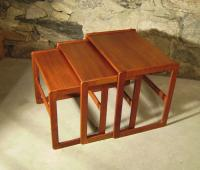 Koefoeds Hornslet stacking modern teak end tables c1960