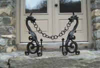 French wrought iron dragon fire place andirons c1880