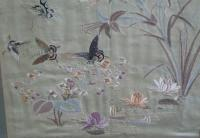 19th C framed Chinese silk embroidery with butterflies c1880