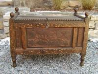 Early hand carved Tibetan storage trunk c 1800