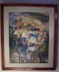 G W Chang village mountain scene oil on canvas
