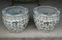 Pr 20th C Chinese porcelain cachepots