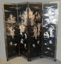 Vintage Chinese black lacquered 4 panel, footed screen