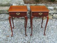 Fineberg pair mahogany Queen Anne night stands