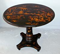 19th C English black lacquered Chinoiserie tea table
