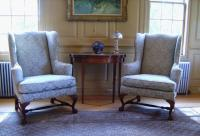 Pair Baker museum reproduction upholstered Queen Anne wing chairs