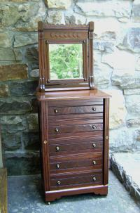 American Victorian walnut miniature lockside chest c1880