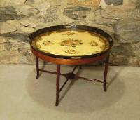 18thc French provincial painted tole tin tray coffee table c1780