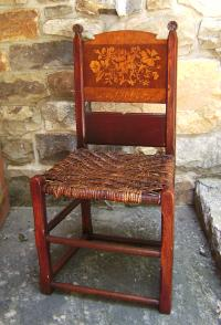 German inlaid side chair with flowers c1900