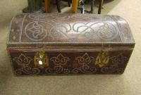 German Leather and  brass dome top trunk 18thc