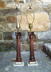 Mahogany fluted column lamps with marble mounts