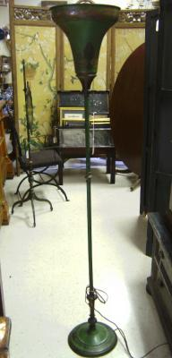 Art Deco hand painted  torchere floor lamp c1930