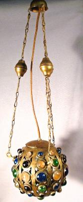 Ball shape reticulated brass Middle Eastern lantern