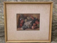 Oil painting Still life of bird and vegetables 19th century