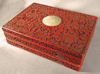 Chinese red lacquer cinnabar writing box c1800
