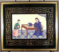 China Trade rice paper paintings Mandarin Coutesans 1840
