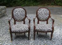 Pair French 18th c upholstered walnut arm chairs c1780
