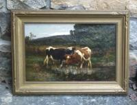 Carleton Wiggins oil canvas meadow cow painting c1885