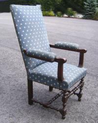 Louis XVIII armchair  with blue upholstery and turned base