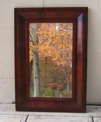 American Federal og mahogany looking glass mirror c1825