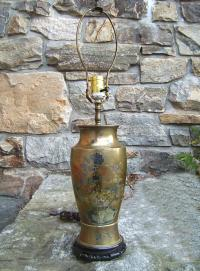 Chinese mixed metal silver and brass urn lamp c1930